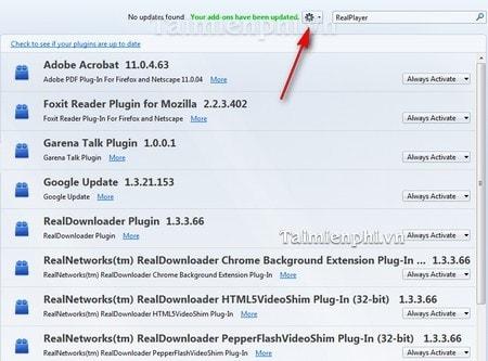 Firefox - Khắc phục lỗi liên quan đến Add-on của RealPlayer