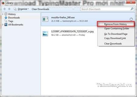 Firefox - Cách mở và xóa danh sách file tải về