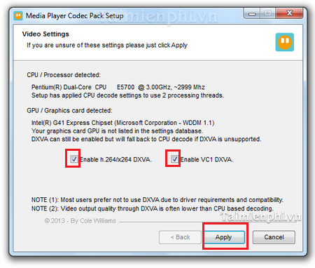 Media Player Code Pack installation is free