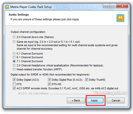 cai Media Player Code Pack cho WMP 12