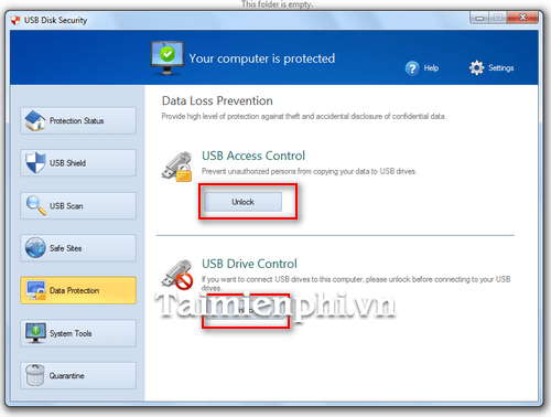 cai mat khau USB tren USB Disk Security