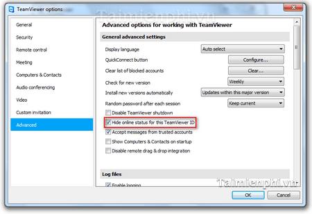 Teamviewer - Cách tắt trạng thái online trên Teamviewer