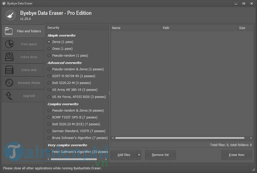 Bản quyền miễn phí ByeByeData Eraser Pro for Home Edition, dọn dẹp ổ c