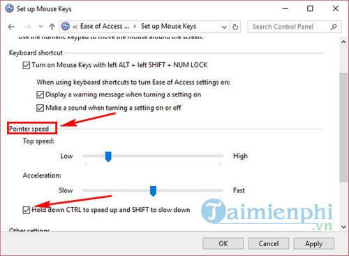 Kích hoạt tính năng Mouse Keys Windows 10