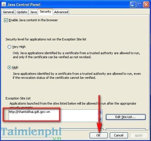 Cách sửa lỗi Application blocked by Java Security khi kê khai thuế qua mạng 5