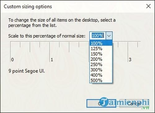 cach sua loi custom scale factor is set tren windows 7