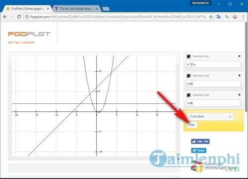 Cách vẽ đồ thị trực tuyến, vẽ biểu đồ hàm số online 2