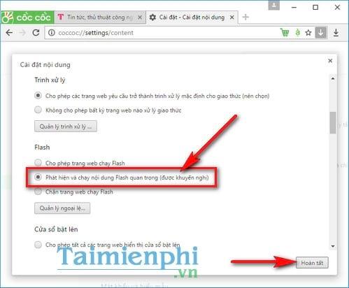 Cách bật Flash trên Cốc Cốc, bật tắt Adobe Flash Player