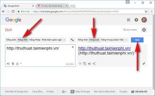 Cách dịch cả trang web bằng Google dịch Translate