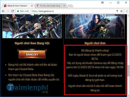 Cách đăng ký tài khoản Blade & Soul, game nhập vai HOT trên Garena 3