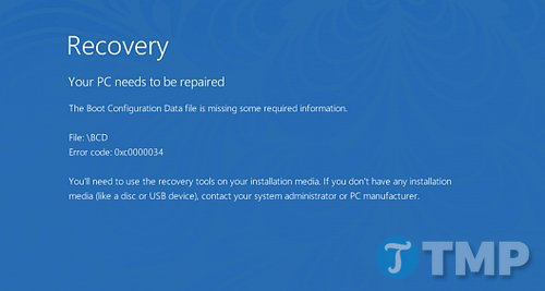 Sửa lỗi Boot Configuration Data File is Missing trên Windows 10