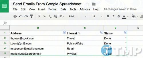 cach gui email truc tiep tu google spreadsheet