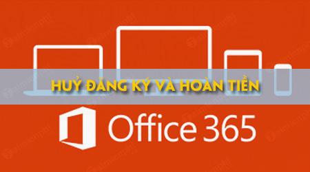 cach huy dang ky thue bao office 365 va nhan tien hoan lai