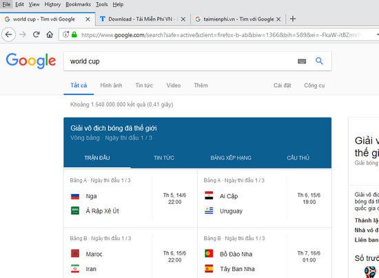 google theo doi lich thi dau world cup