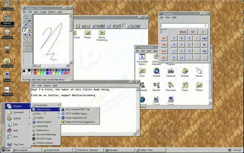 windows 95 hien co san duoi dang ung dung electron