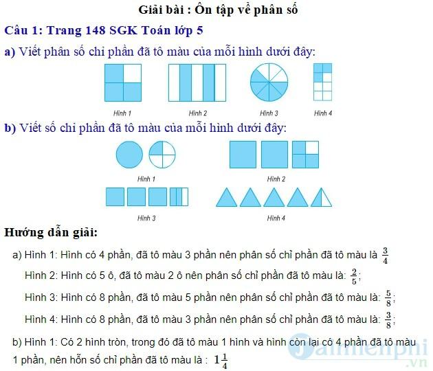 giai bai tap toan 5 trang 148 149 sgk on tap ve phan so
