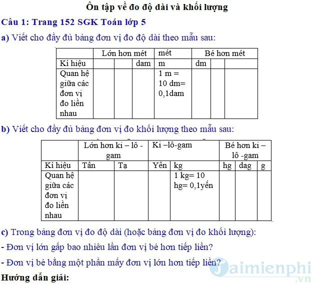 giai bai tap toan 5 trang 152 153 sgk on tap ve do do dai va khoi luong