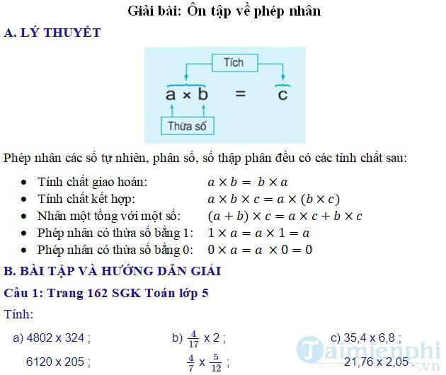 giai bai tap toan 5 trang 162 sgk on tap phep nhan