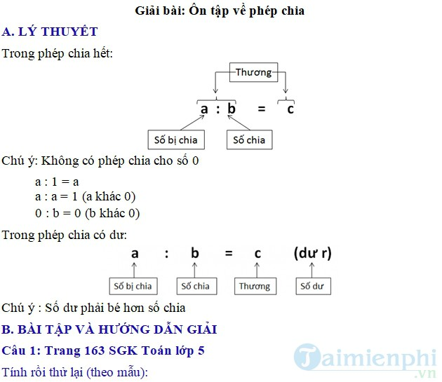 giai bai tap toan 5 trang 163 164 sgk on tap phep chia