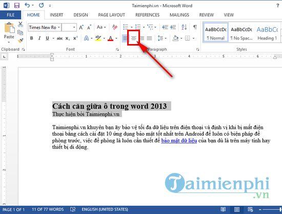 Cách căn giữa ô trong word 2013 2