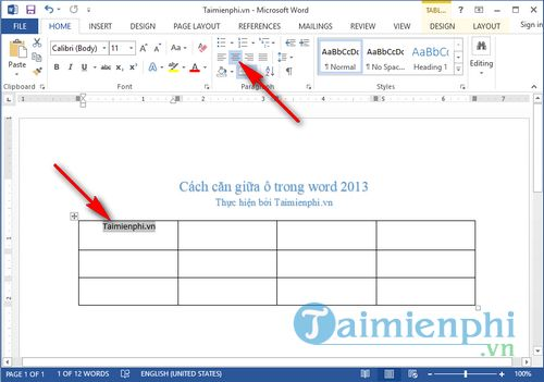 Cách căn giữa ô trong word 2013 4