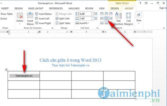 Cách căn giữa ô trong word 2013 6