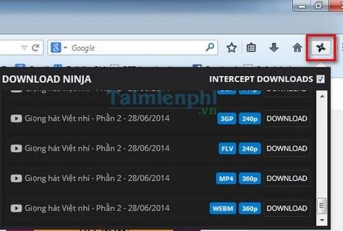 Cài đặt Download Ninja trên trình duyệt Firefox và Google Chrome