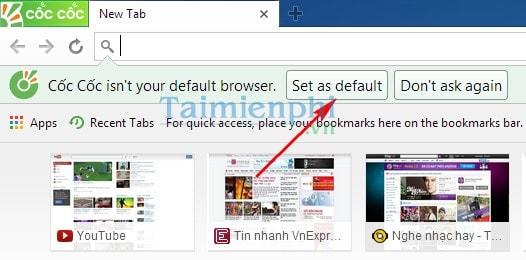 Cài CocCoc làm trình duyệt mặc định, mở link bất kỳ bằng Cốc Cốc trên máy tính