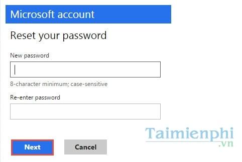 reset password for microsoft account