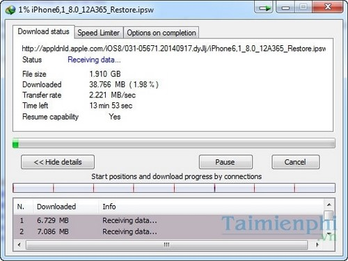 Tải Firmware iOS 8 tốc độ nhanh bằng IDM