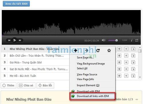 Cách tải toàn bộ list bài hát trong bảng xếp hạng trên MP3 Zing 3