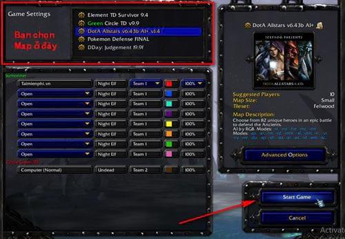 cach chon map trong warcraft 3 5