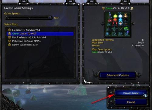 cach chon map trong warcraft 3 8