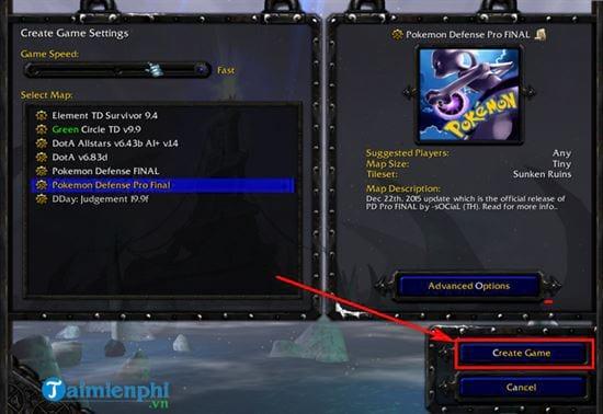 Hướng dẫn chơi map Pokemon Defense trong Warcraft