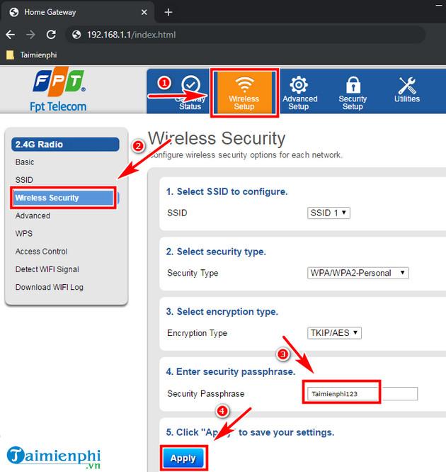 Cách đổi mật khẩu Wifi mới 2020 mạng FPT, Viettel, VNPT 2