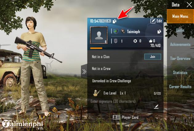 huong dan lay id nhan vat pubg mobile vn 4