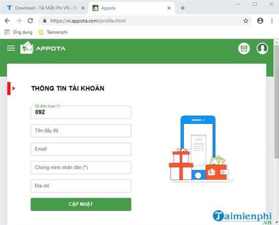 Đăng ký, tạo tài khoản Appota