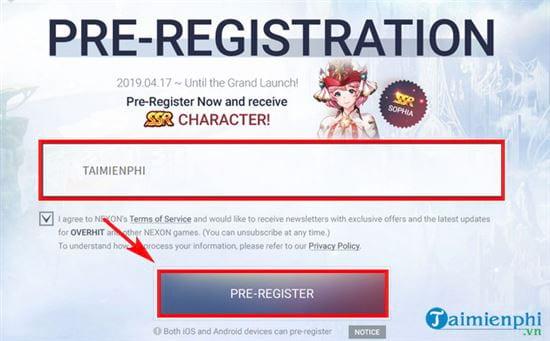 Cách đăng ký sớm Overhit, nhận thưởng nhân vật phẩm chất cao