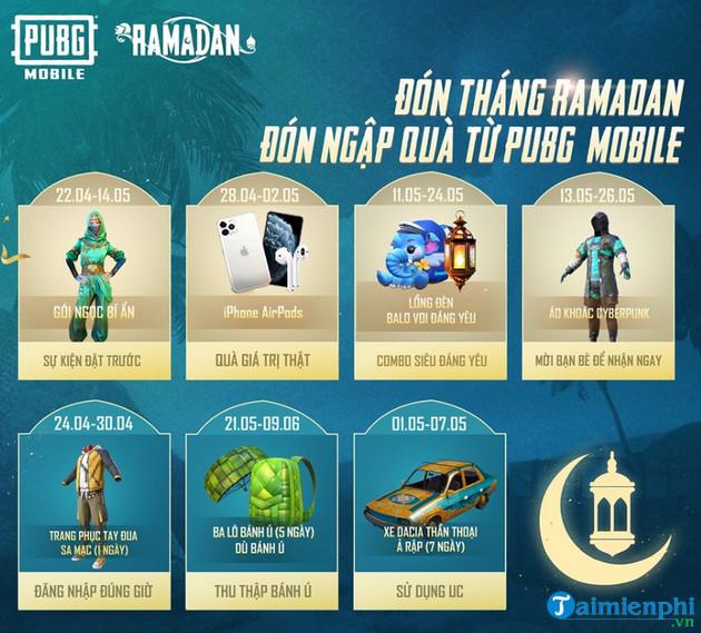 Tổng hợp Event Bánh Ú May Mắn mừng tháng Ramadan PUBG Mobile