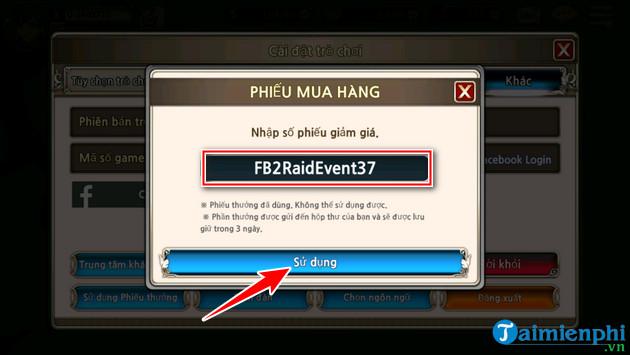 cach nhap giftcode King's Raid