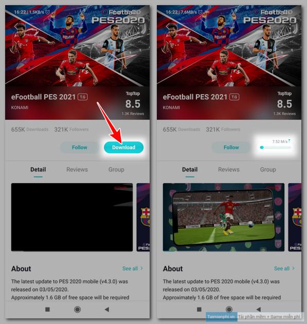Cách tải và chơi game eFootball PES 2021