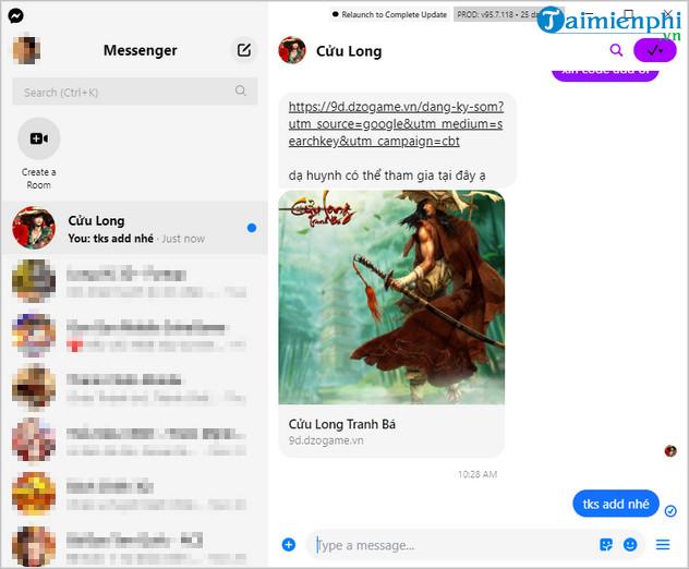 cach su dung facebook messenger tren may tinh