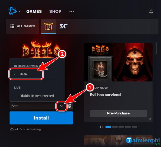 download Diablo II Resurrected Open Beta tren battle net