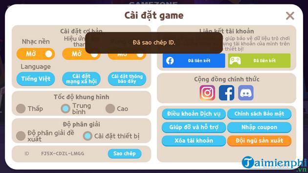 huong dan lay id nhan vat play together