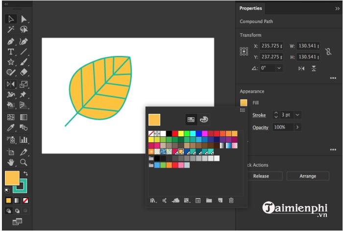 Cách tô màu và thay đổi màu trong Adobe Illustrator 5