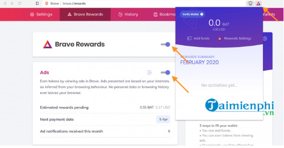 View money check lists in brave browser