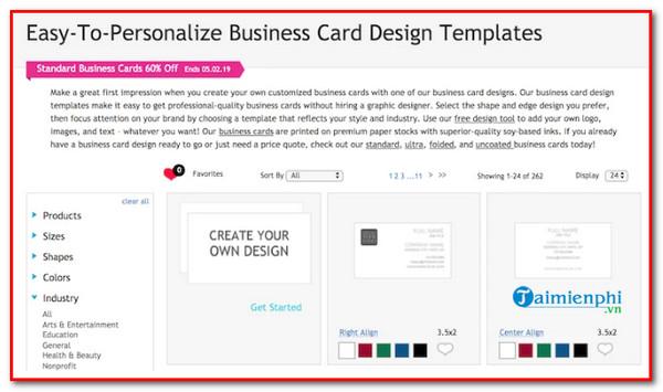 top website designed for business cards online