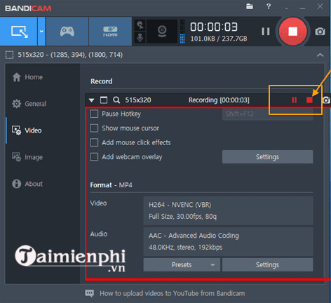 how to edit bandicam when recording screen