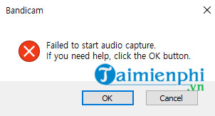 loi bandicam failed to start audio capture