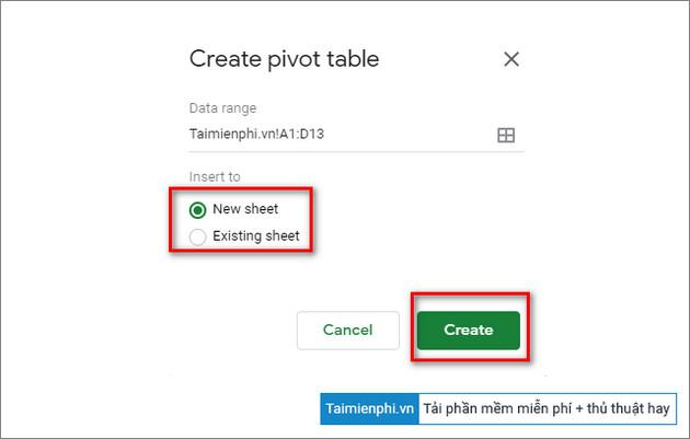 tao bang pivot table trong google sheets